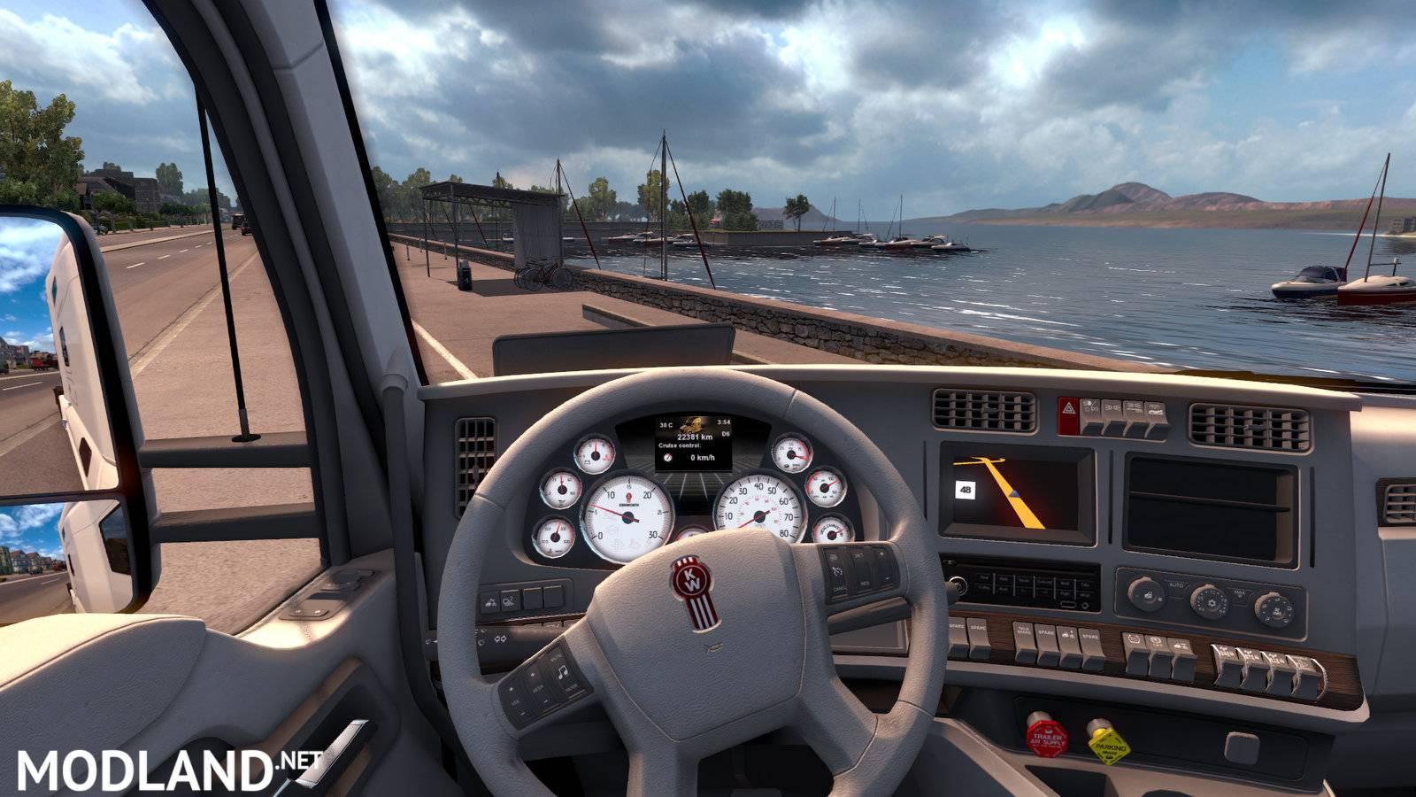 Kenworth T680 White Gauges+Interior mod for American Truck Simulator, ATS