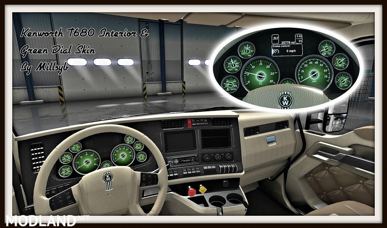 Kenworth T680 Interior Amp Green Dial Skin Mod For American