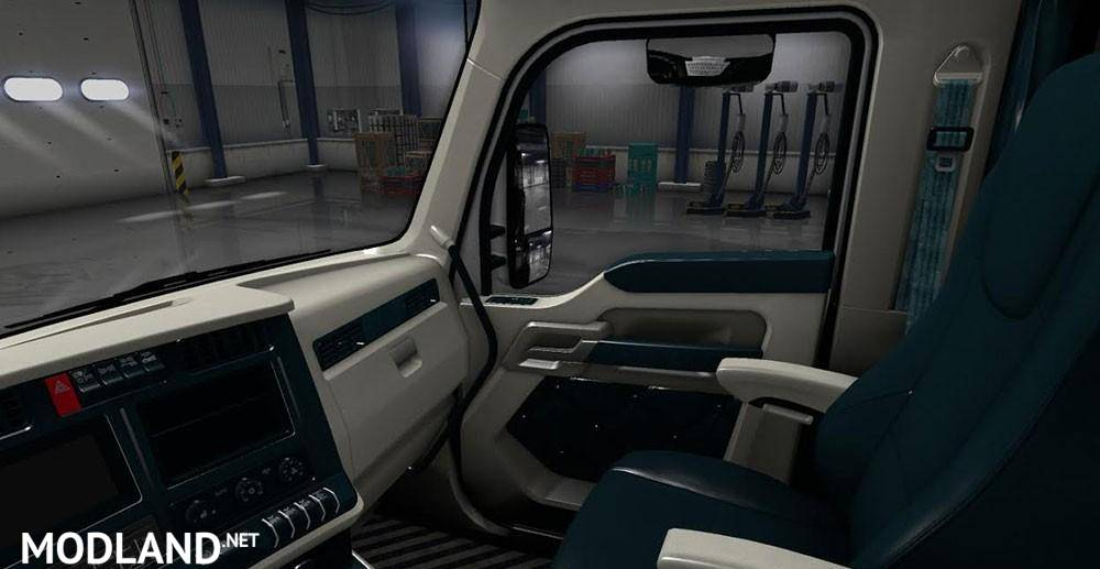 Kenworth T680 White Teal Interior
