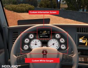 Kenworth T680 White Gauges + Colour Info Display