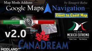 ATS - Google Maps Navigation Normal & Night Version Map Mods Addons v2.0