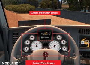 Kenworth T680 White Gauges + Colour Info Display v 1.2