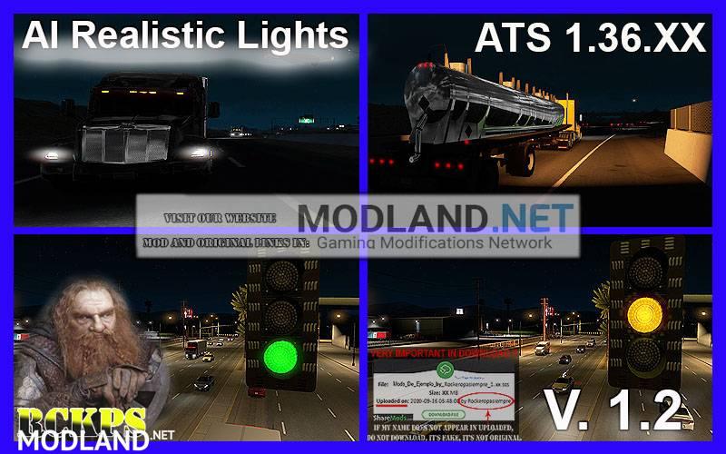 AI Realistic lights V 1.2 for ATS 1.36.x