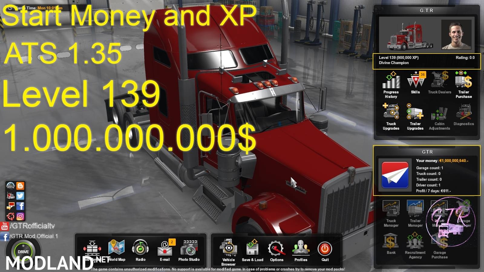 Start Money and XP for ATS 1 35 mod for American Truck Simulator, ATS