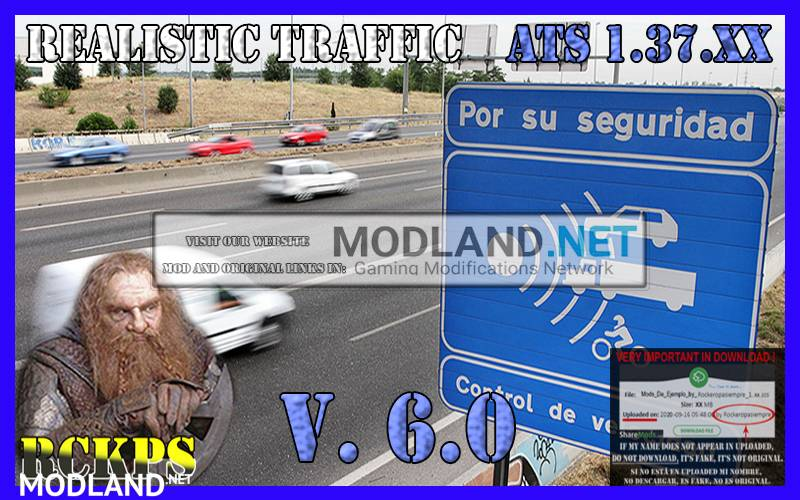 Realistic traffic 6.0 For American Truck Simulator v 1.37.x