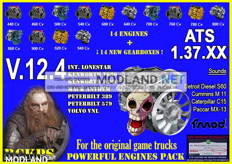 Pack Powerful Engines + Gearboxes v 12.4 for ATS 1.37.x