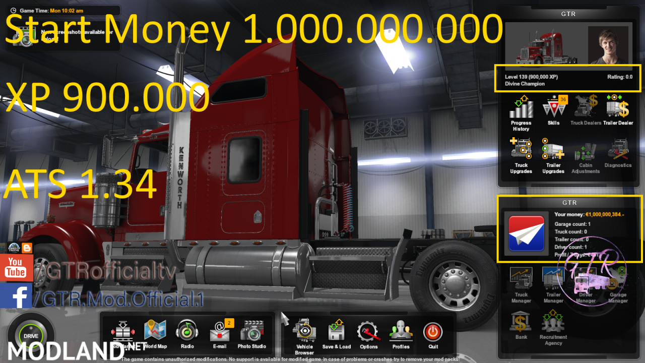 Start Money and XP for ATS 1.34