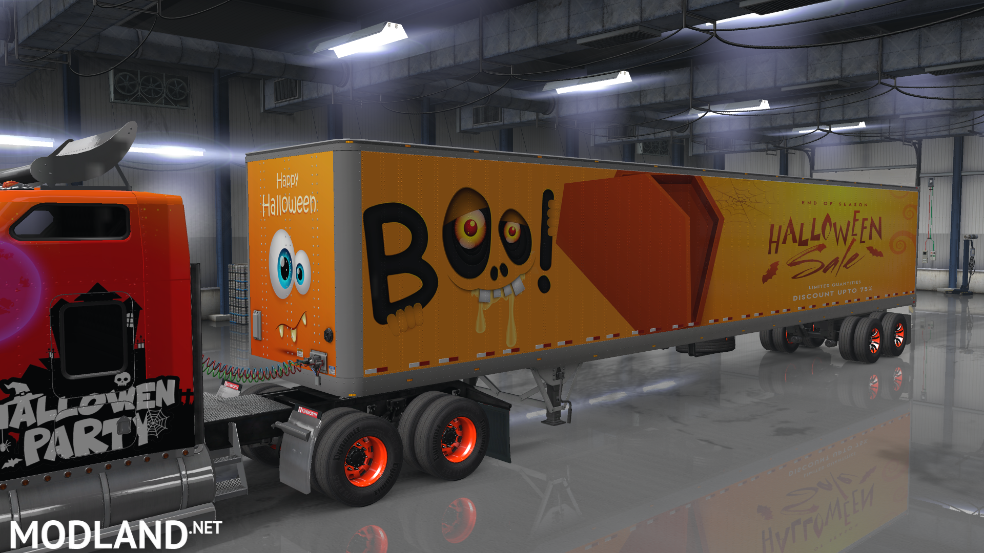w900 halloween skin + 7 trailer skins mod for american truck