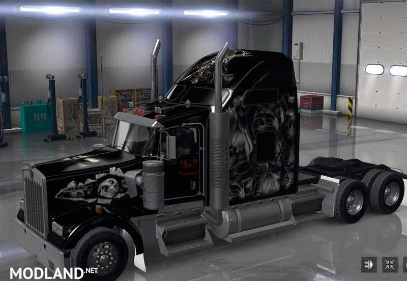 Kenworth W900 Skin & Mudflaps Skull v 1.0 mod for American Truck Simulator, ATS