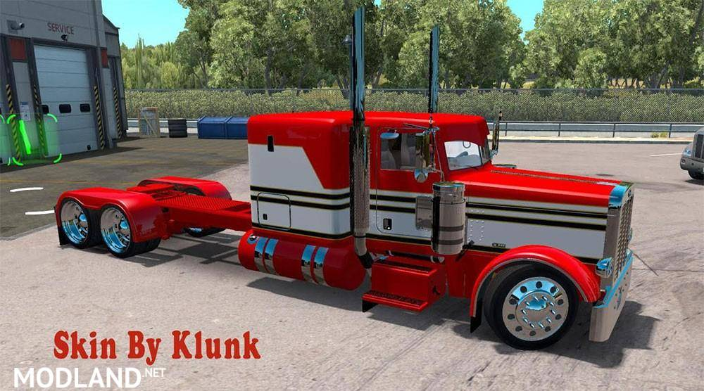 Peterbilt 389 Red White Skin Mod For American Truck