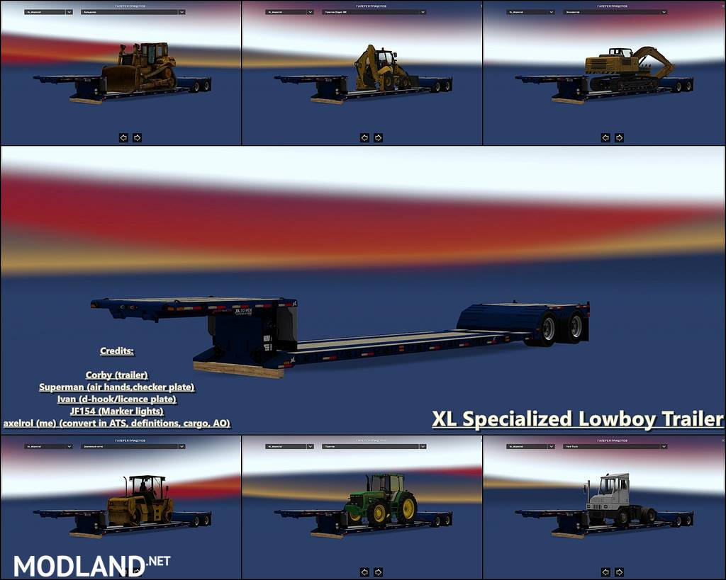 XL Specialized Lowboy Trailer 1 32 x mod for American Truck
