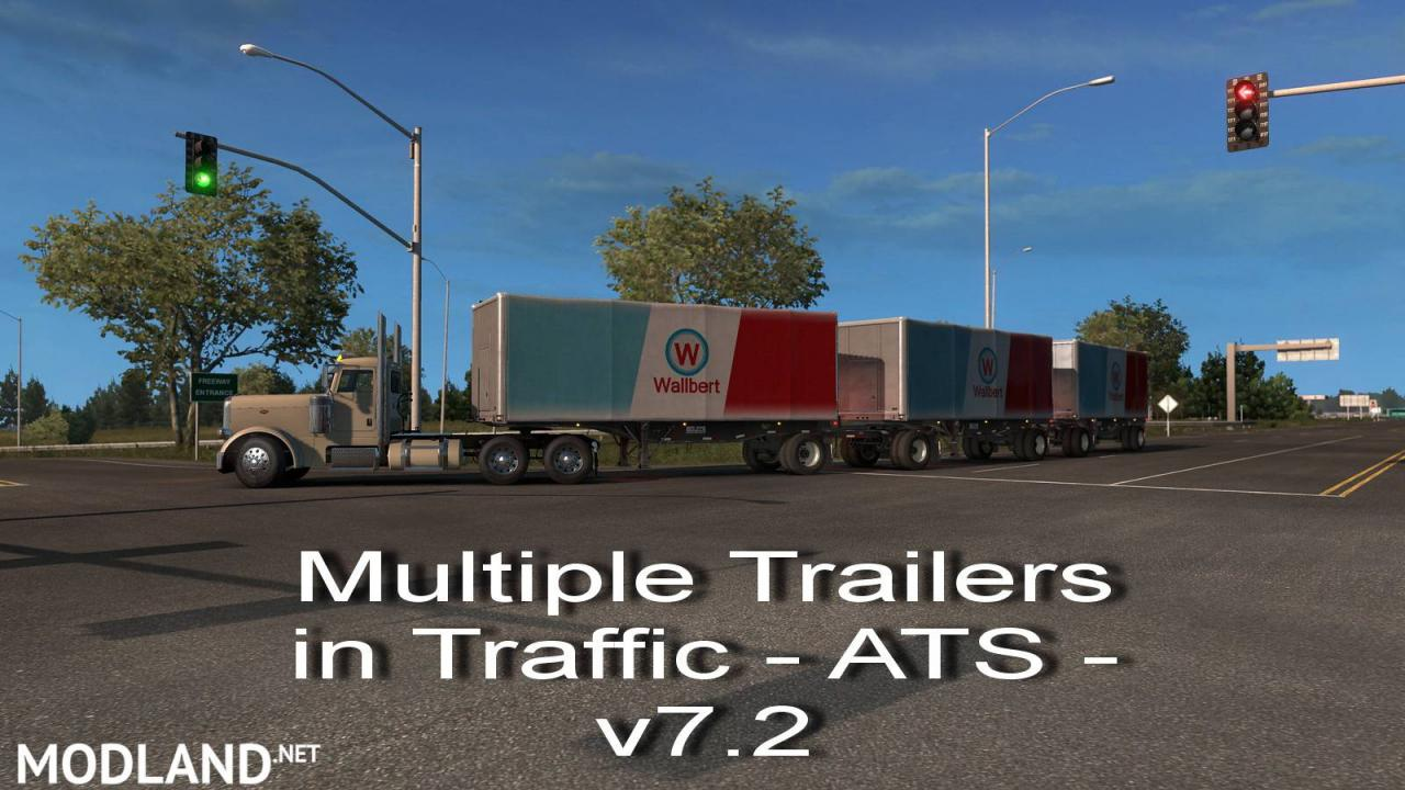 Multiple Trailers in Traffic - ATS -