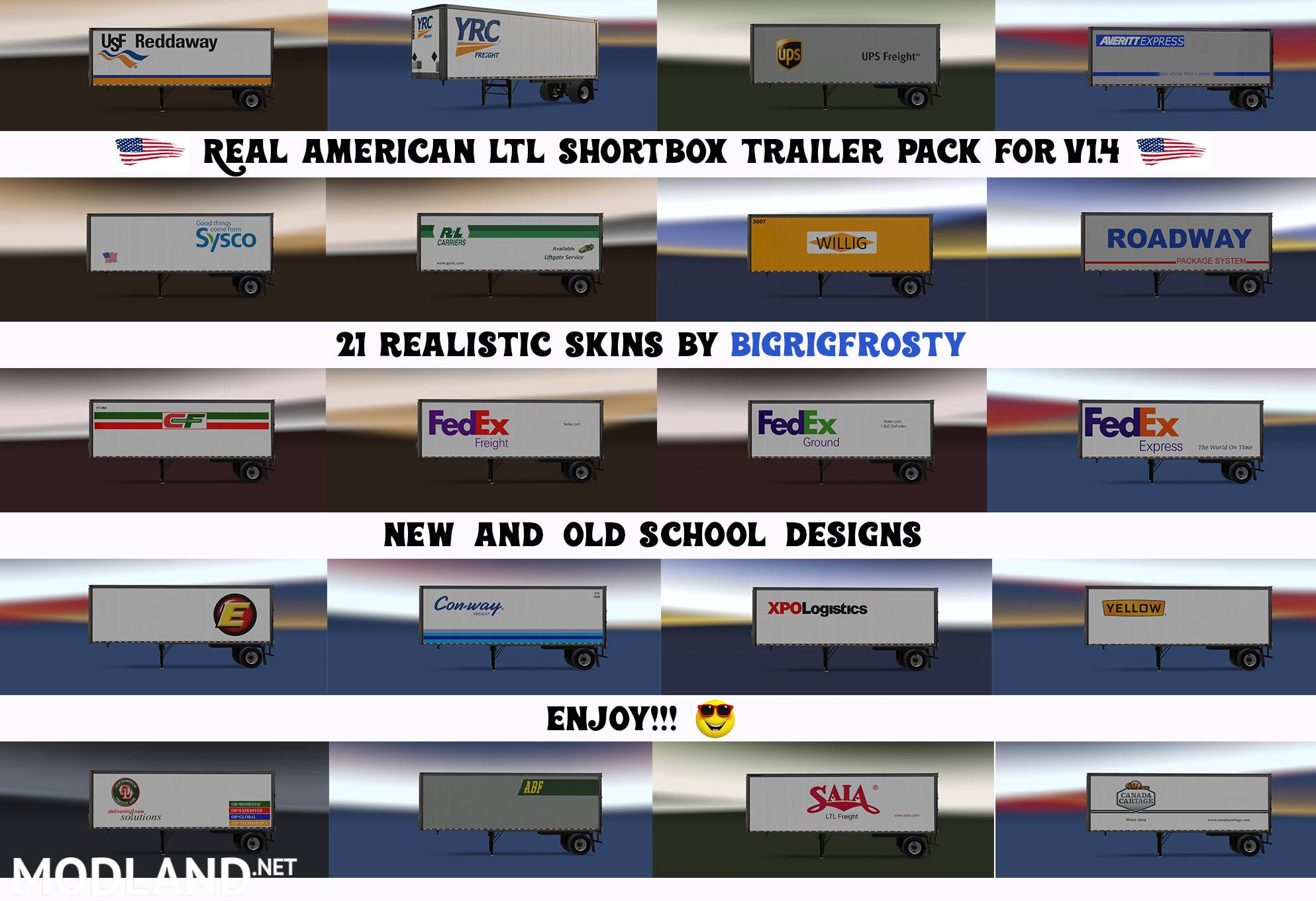 Real American LTL Shortbox Trailer Pack mod for American