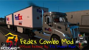 Fedex Official 28 Pup Trailer with Freightliner Day Cab Truck , 1 photo