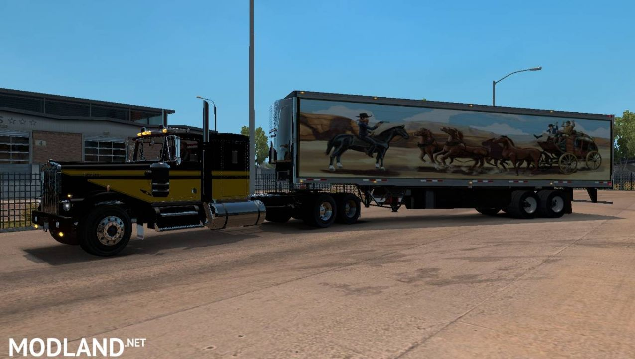 Kenworth W900A truck and Uncle_D Reefer Trailer with Smokey and the Bandit Skin