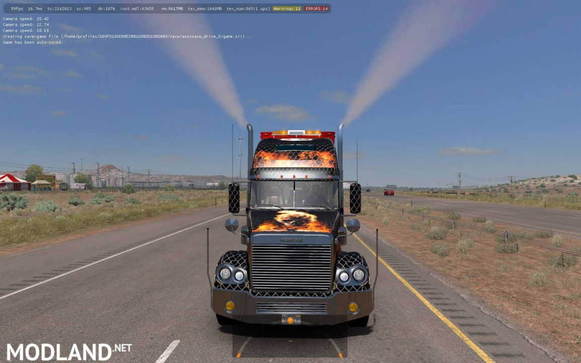 Freightliner Coronado. Modified + Skins + Trailer (1.31)