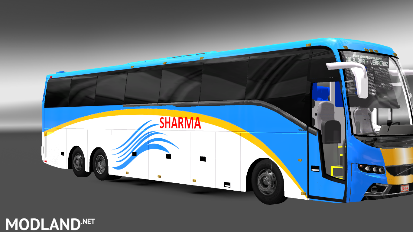 Facelifted Volvo bus mod with skins of Indian Volvo B9R, B11R + passengers mod for ETS 2