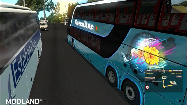 ets2 mods green double decker setra 432 DT bus + bd skin HD