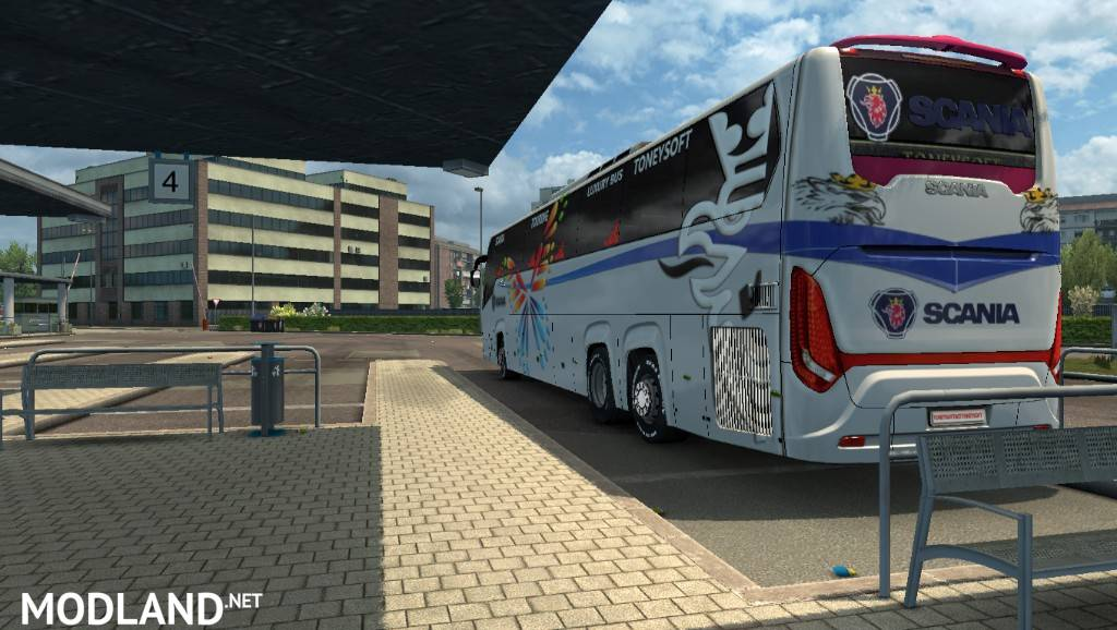 ets2 mods Scania touring bus officially skin and striker for