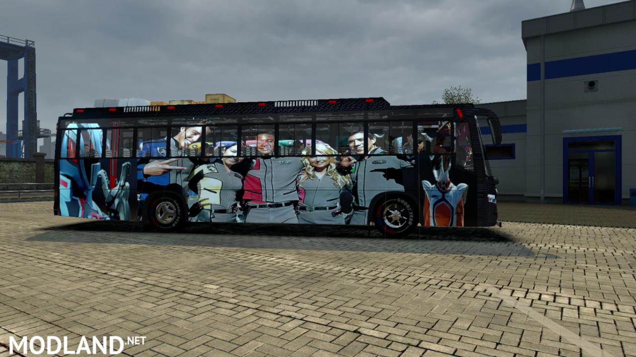 Power Rangers SPD skin for Maruti V2 bus with SPD horn