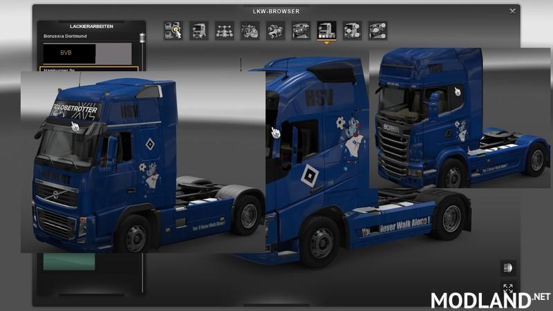 HSV Skins for Scania Volvo FH16, Volvo 2012 v alle mod for ETS 2
