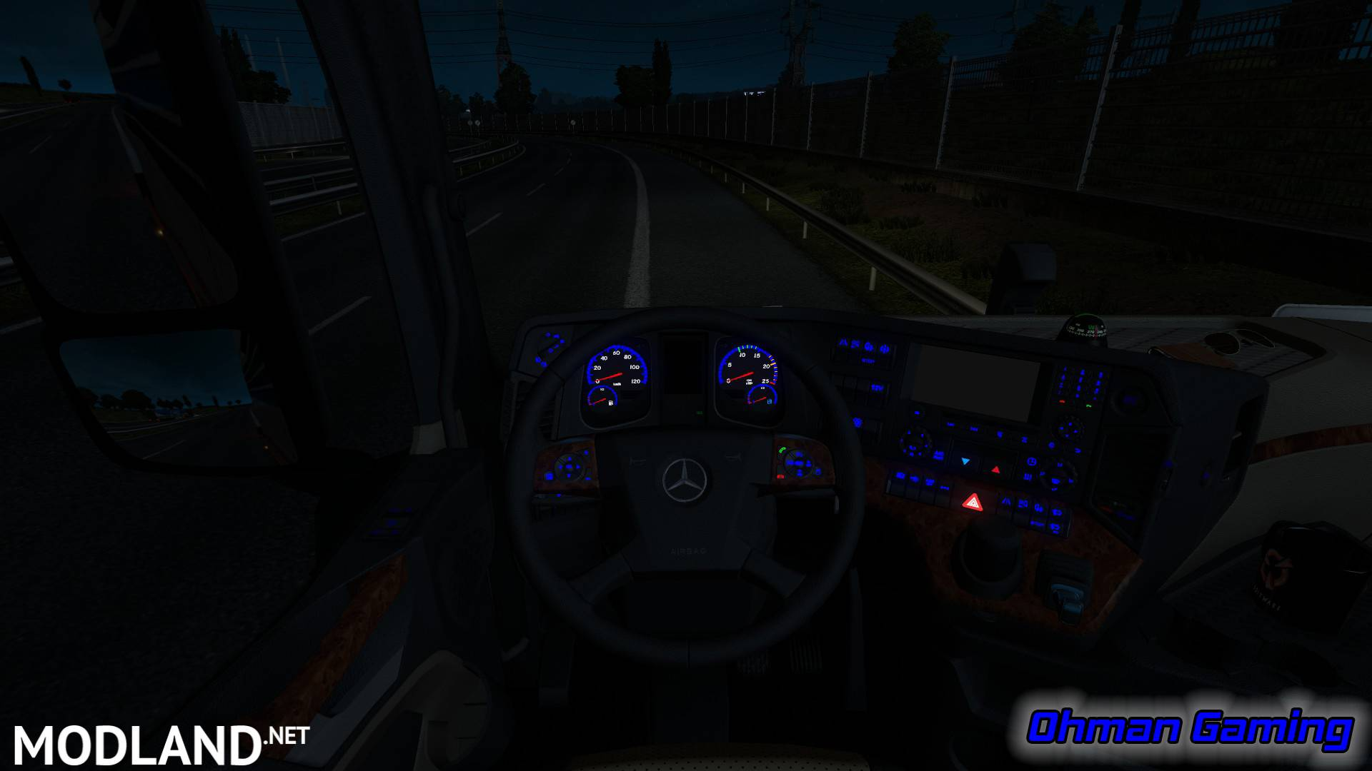Mercedes benz mp4 blue dashboard lights mod for ets 2 for Mercedes benz dashboard lights not working