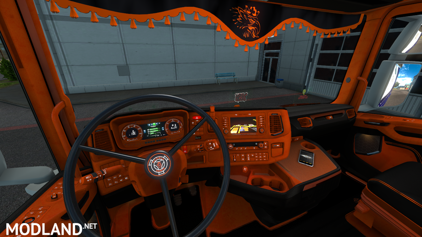 orange and black scania next gen s and r interior mod for ets 2