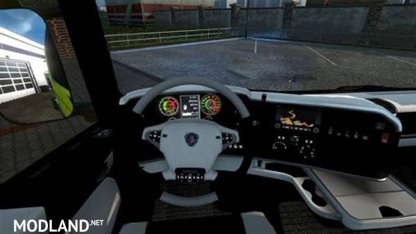 Scania Interior Black And White And Speed Indicator Mod