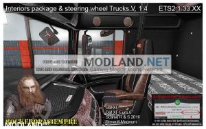 Interior package & steering wheel Trucks V.1.4 For 1.33.x