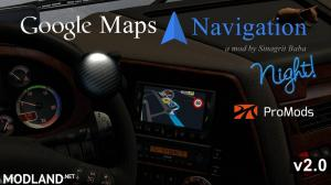 ETS 2 - Google Maps Navigation Night Version for ProMods v 2.0