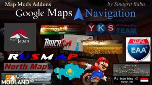 ETS 2 - Google Maps Navigation Normal & Night Version Map Mods Addons v 3.0