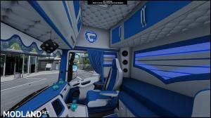 Interior Scania S Blue and White ETS 2
