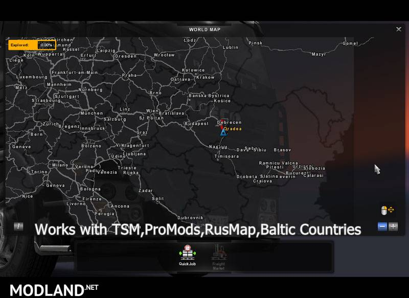 Ro Map Addon V 41 Mod For Ets 2: America Map For Euro Truck Simulator 2 At Usa Maps