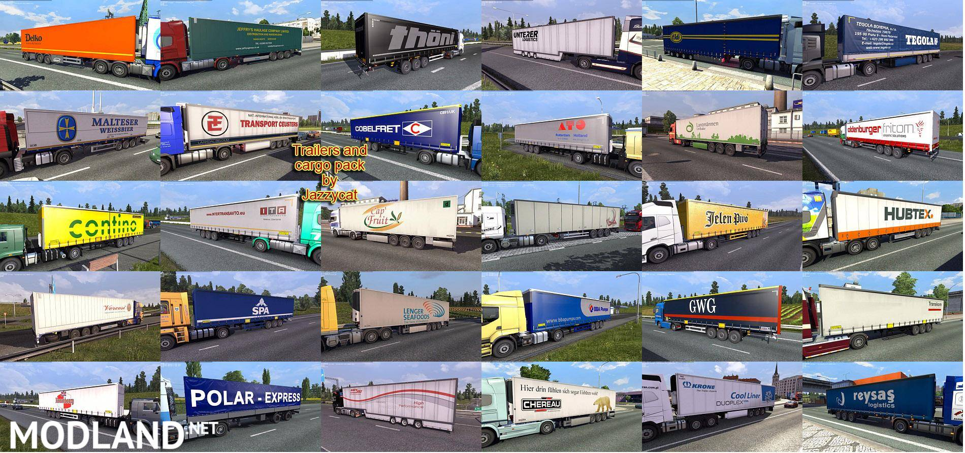 Trailers and Cargo Pack by Jazzycat v 3 2 1 mod for ETS 2