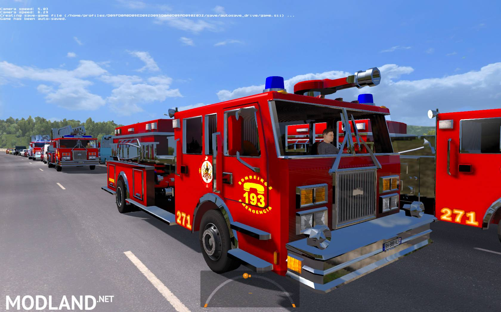 Fire Trucks In Traffic (with Siren And Flashing Lights) ETS2 1.27.