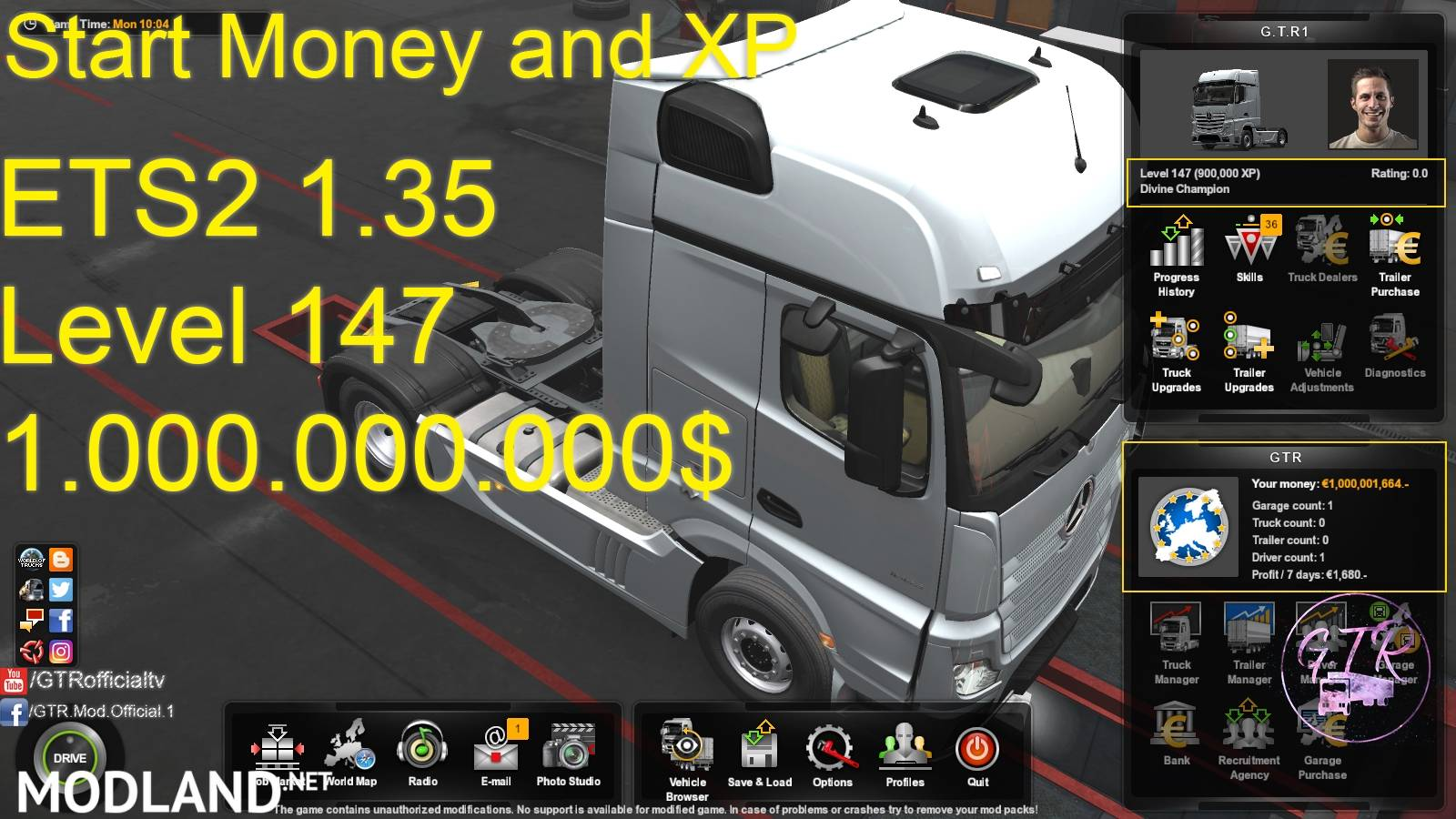 START MONEY AND XP FOR ETS2 1 35 mod for ETS 2