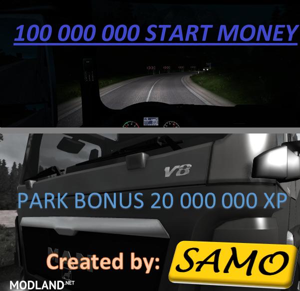 start money 100 000 000 20 000 000xp by samo mod for ets 2. Black Bedroom Furniture Sets. Home Design Ideas