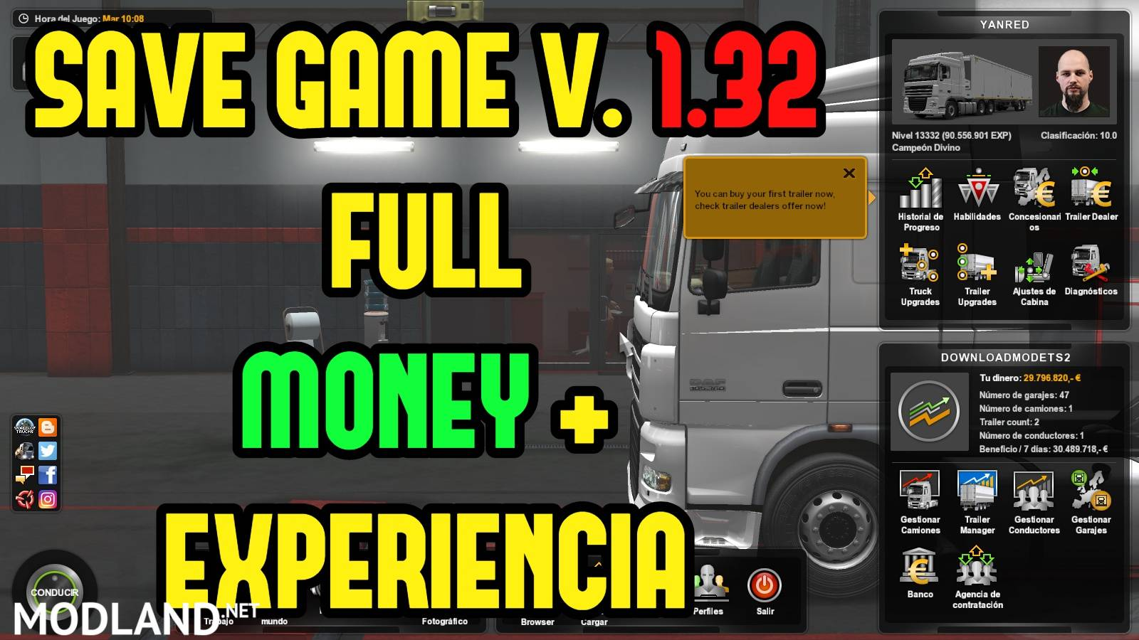 Save Game Perfil No requiere DLC ETS2 V 1 32 mod for ETS 2