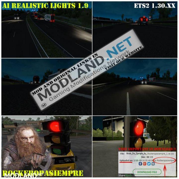 AI Realistic lights V 1.9 for ETS2 1.30.x
