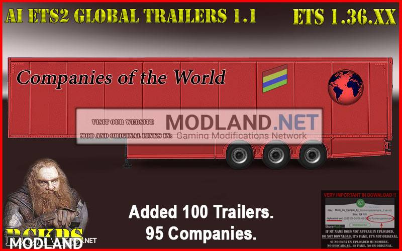 AI ETS2 Global Trailers Rckps 1.1 For 1.36.x