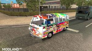 Volkswagen Transporter 2 Hippie in traffic 1.35, 1 photo