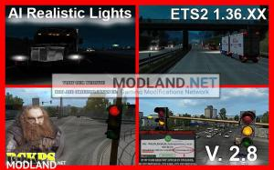 AI Realistic lights V 2.8 for ETS2 1.36.x, 1 photo