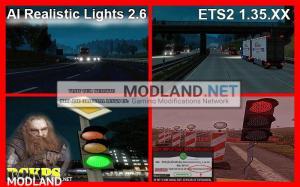AI Realistic lights V 2.6 for ETS2 1.35.x, 1 photo