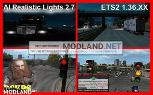 AI Realistic lights V 2.7 for ETS2 1.36.x, 1 photo