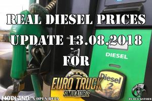 Real Diesel Prices for Euro Truck Simulator 2 map (upd.13.08.2018)