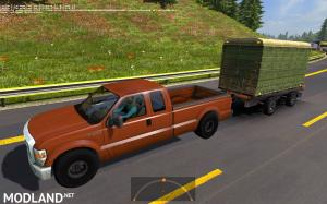 Ford 250 with trailers in traffic 1.35 , 1 photo