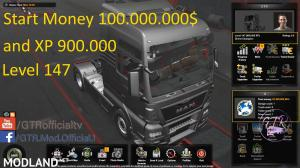 Start Money 100.000.000$ and XP for ETS2 1.34