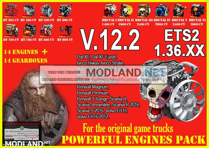 Pack Powerful engines + gearboxes V.12.2 for ETS2 1.36.XX