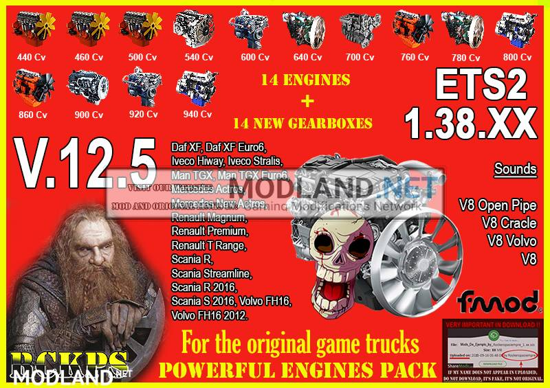 Pack Powerful Engines + Gearboxes V.12.5 for ETS2 1.38.x