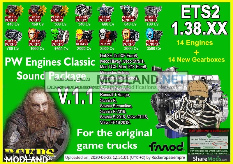 PW Engines Classic Sounds Pack V.1.1 para ETS2 1.38.x
